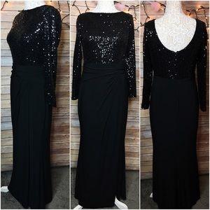 Stunning RALPH LAUREN Black Sequin Gown 10 👗